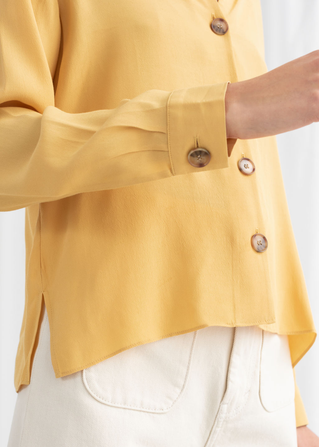 Model back image of Stories relaxed fit button up in yellow