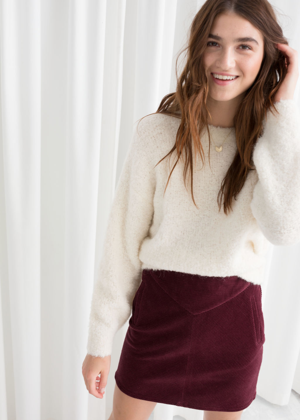 Model front image of Stories textured wool blend sweater in white