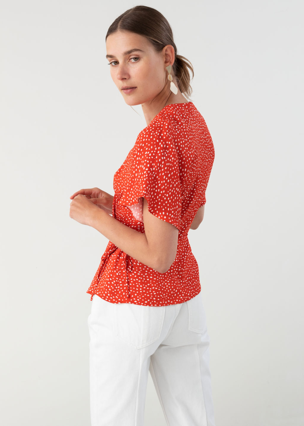 Model back image of Stories printed wrap blouse  in red