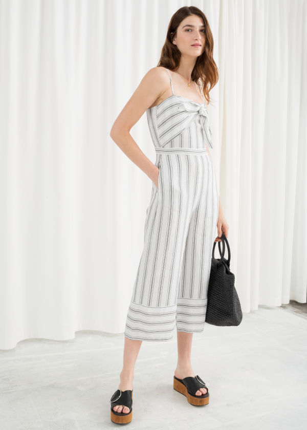 Linen Blend Tie Up Jumpsuit