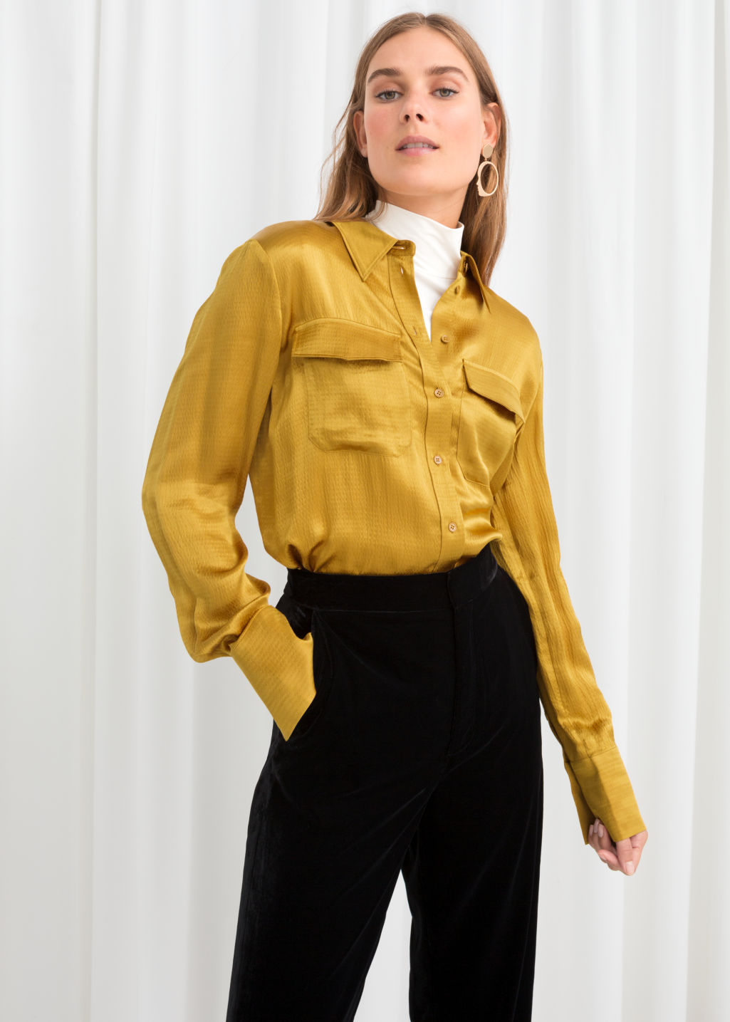 Model front image of Stories satin workwear shirt in yellow