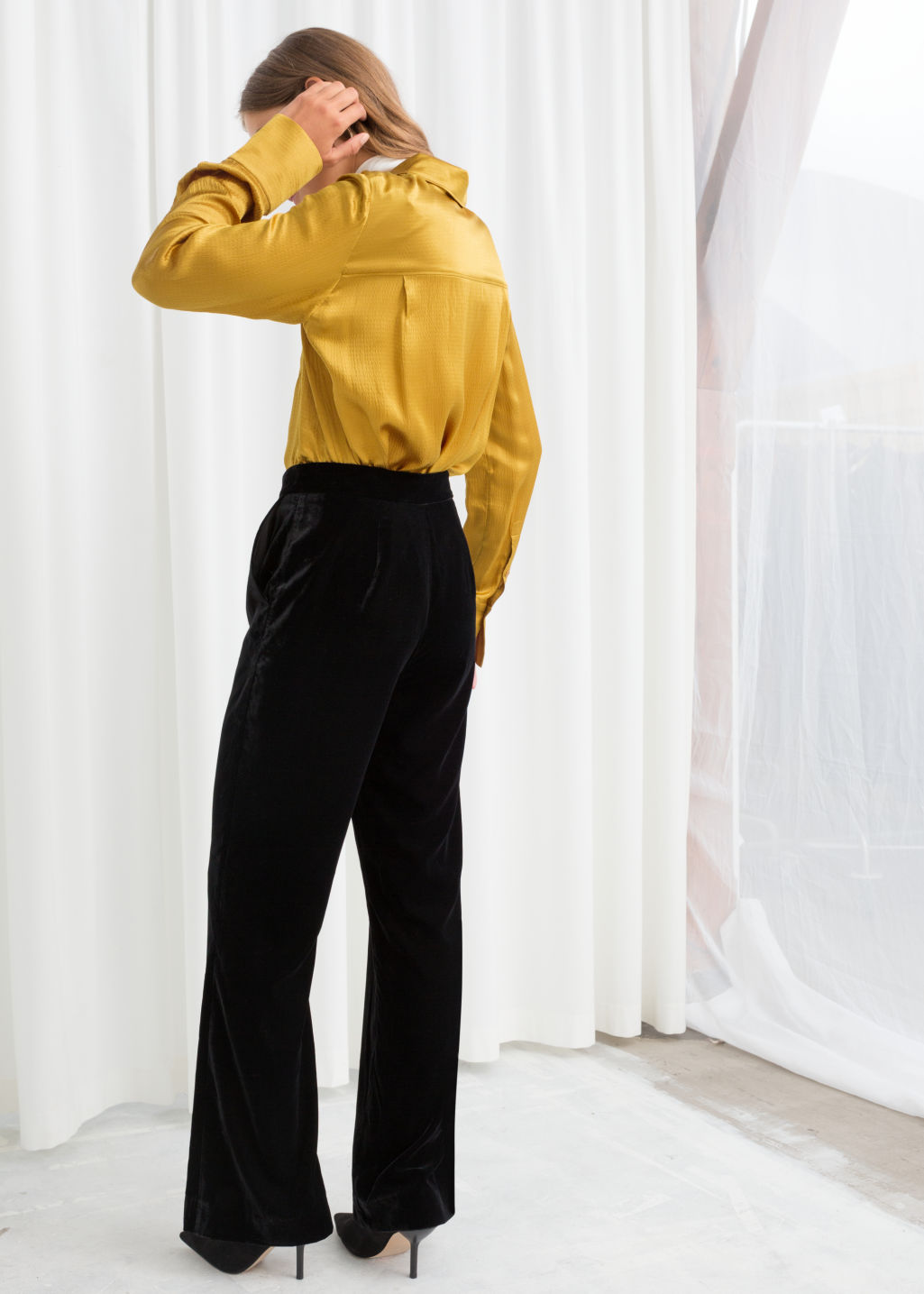 Model back image of Stories satin workwear shirt in yellow