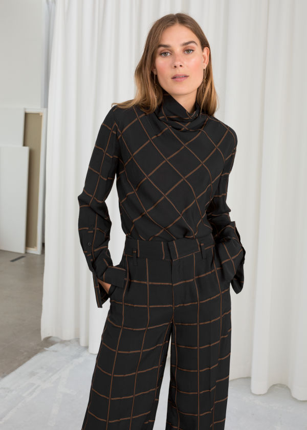 Checked Turtleneck Blouse