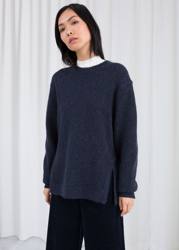 Cable Slit Wool Blend Sweater