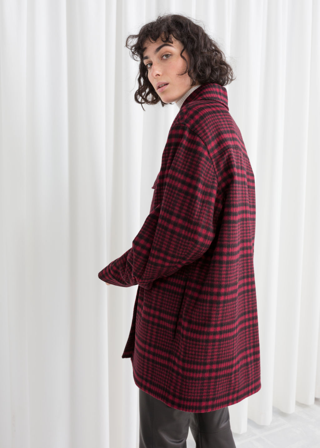 Model back image of Stories wool blend plaid overshirt in red