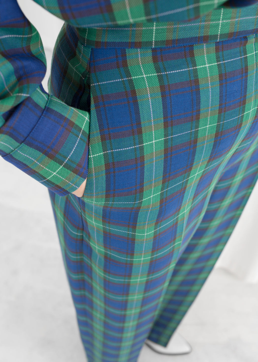 Model back image of Stories wool blend plaid trousers in green
