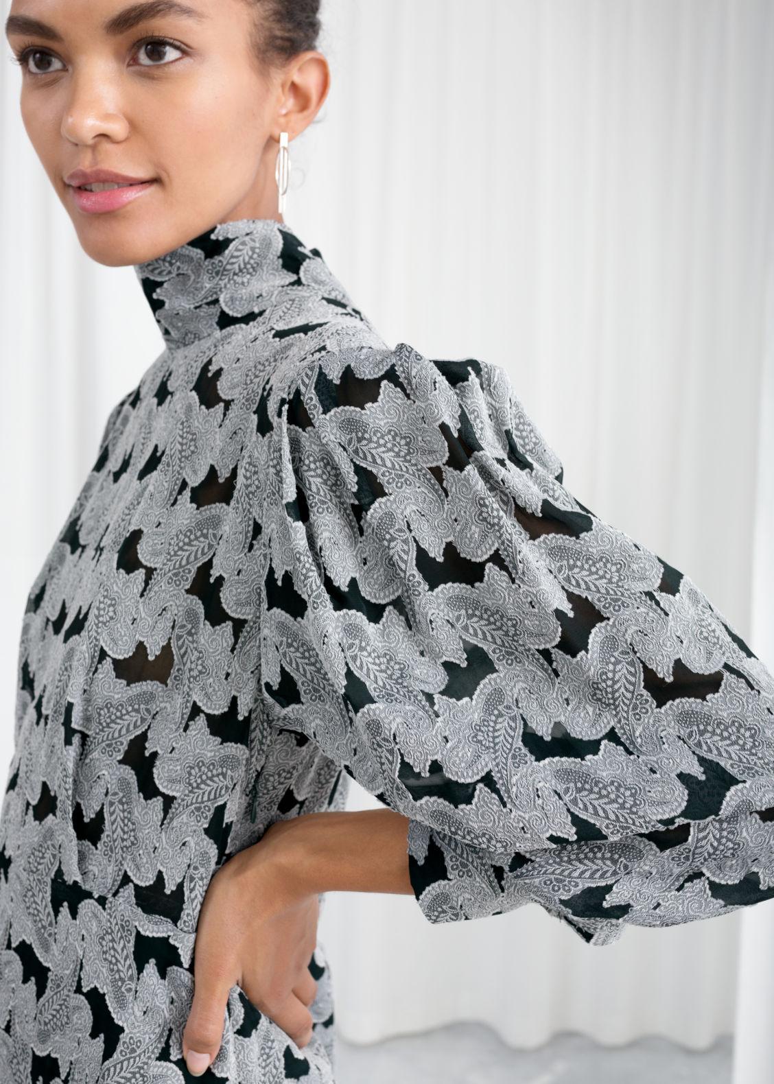 acafe2fa91 Turtleneck Jacquard Dress - Black - Printed dresses -   Other Stories