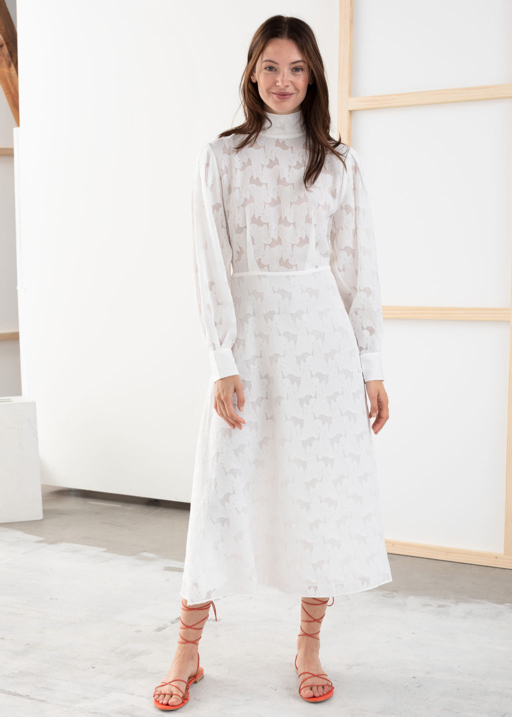 Model front image of Stories turtleneck jacquard dress in white