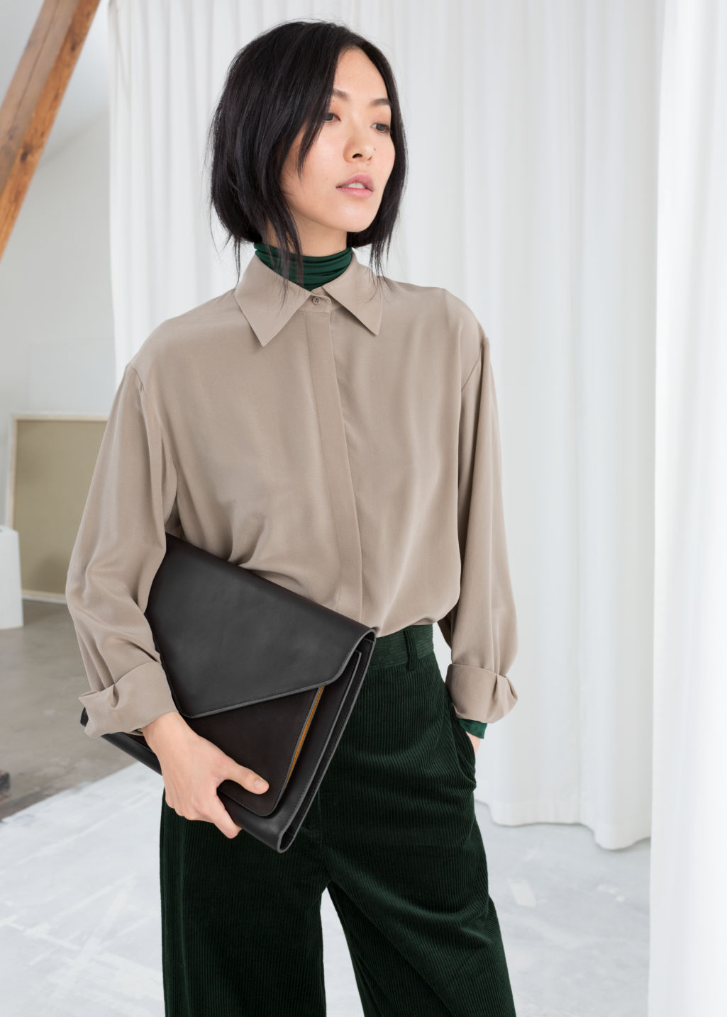 Model front image of Stories pointed collar silk shirt in brown