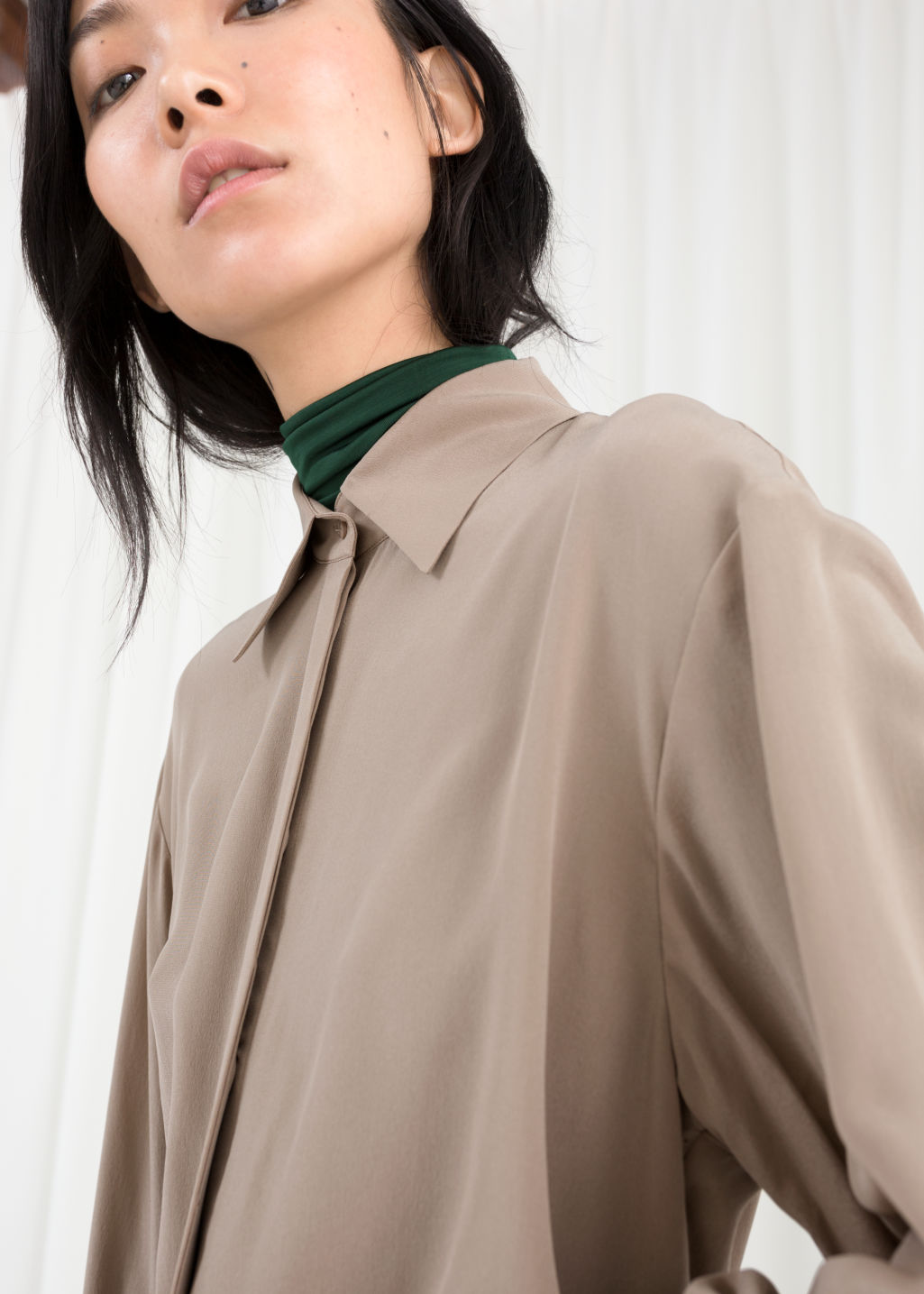 Model back image of Stories pointed collar silk shirt in brown