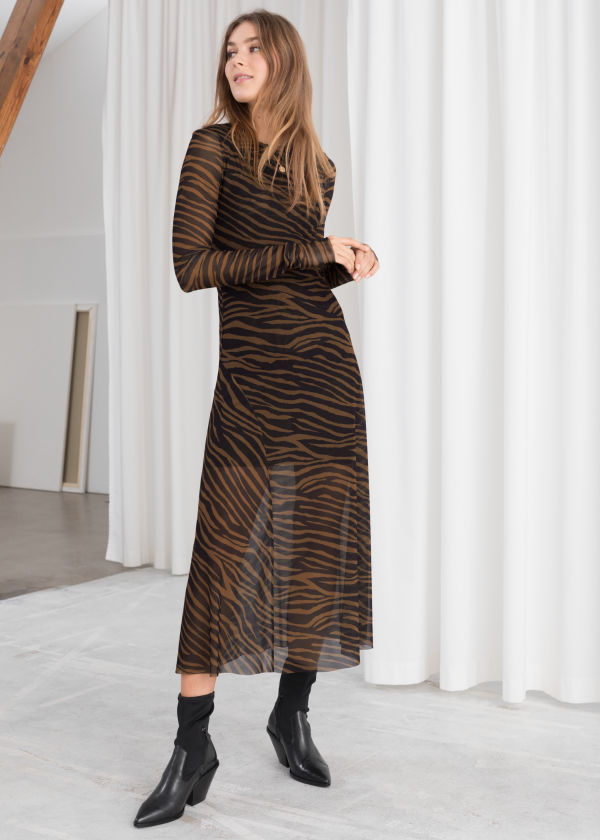 Sheer Zebra Midi Dress