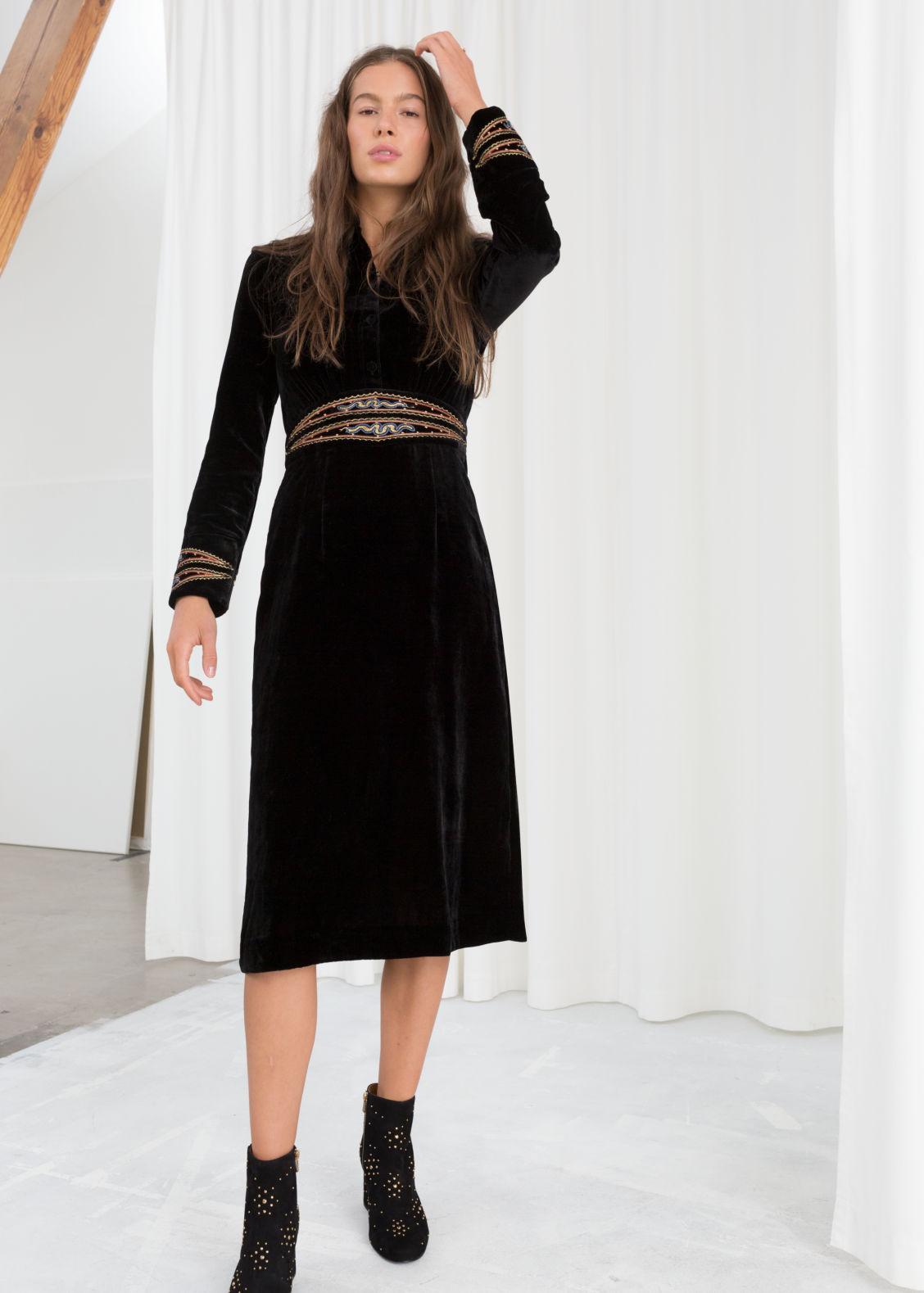 Model Front Image Of Stories Velvet Embroidered Midi Dress In Black