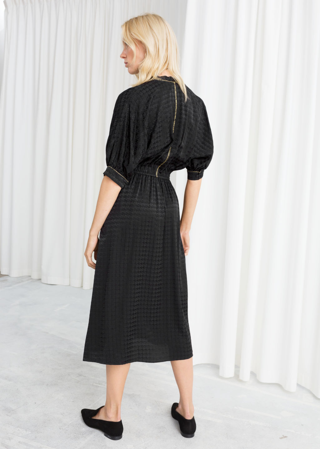 Model back image of Stories houndstooth jacquard midi dress in black