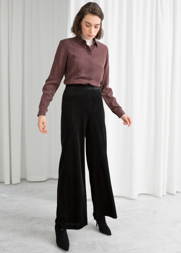Flared Velour Trousers