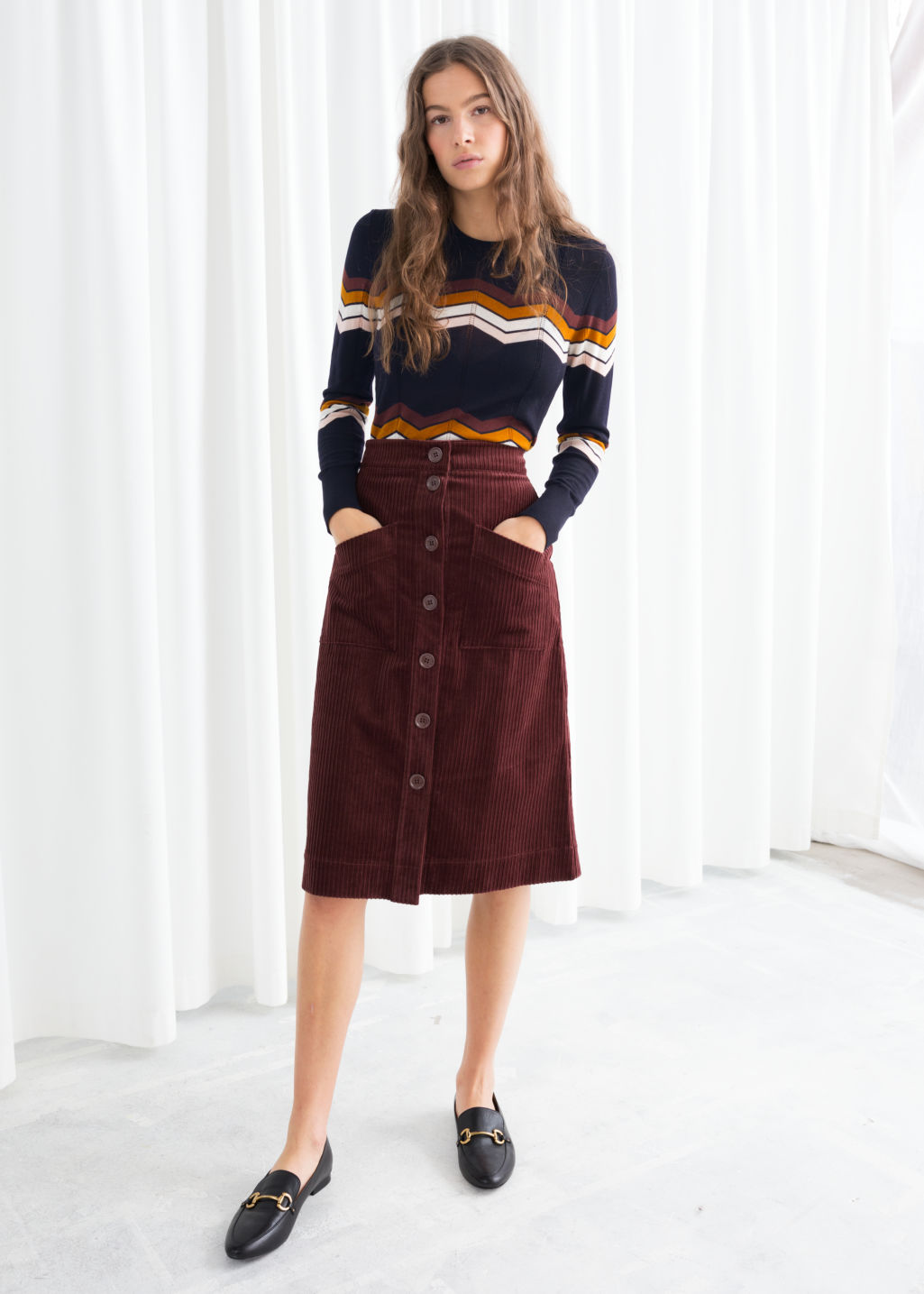 5d151acadf9e Model front image of Stories a-line corduroy skirt in brown ...