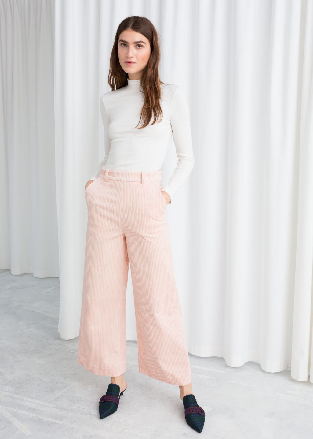 Model front image of Stories wide corduroy trousers in pink