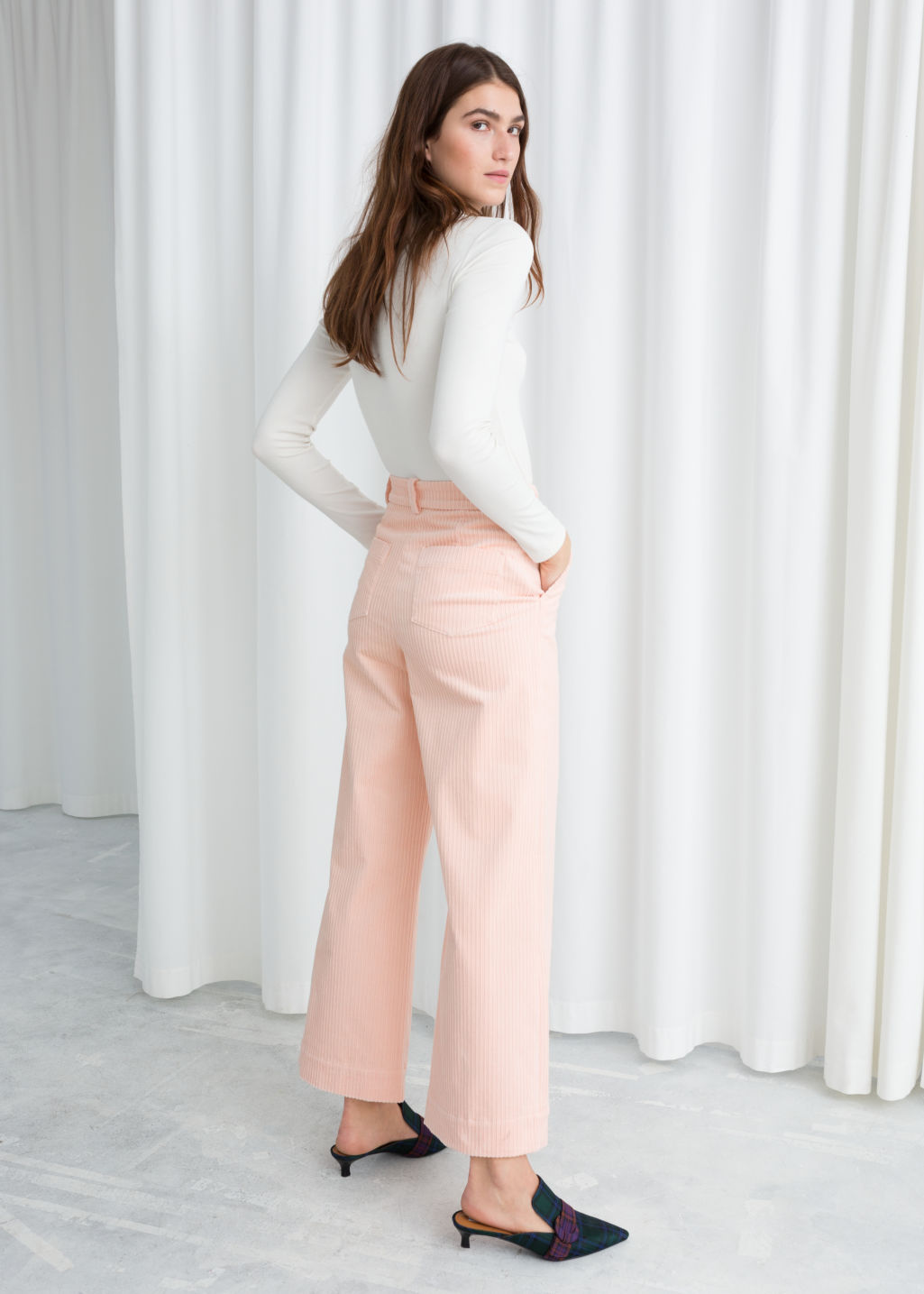 Model back image of Stories wide corduroy trousers in pink