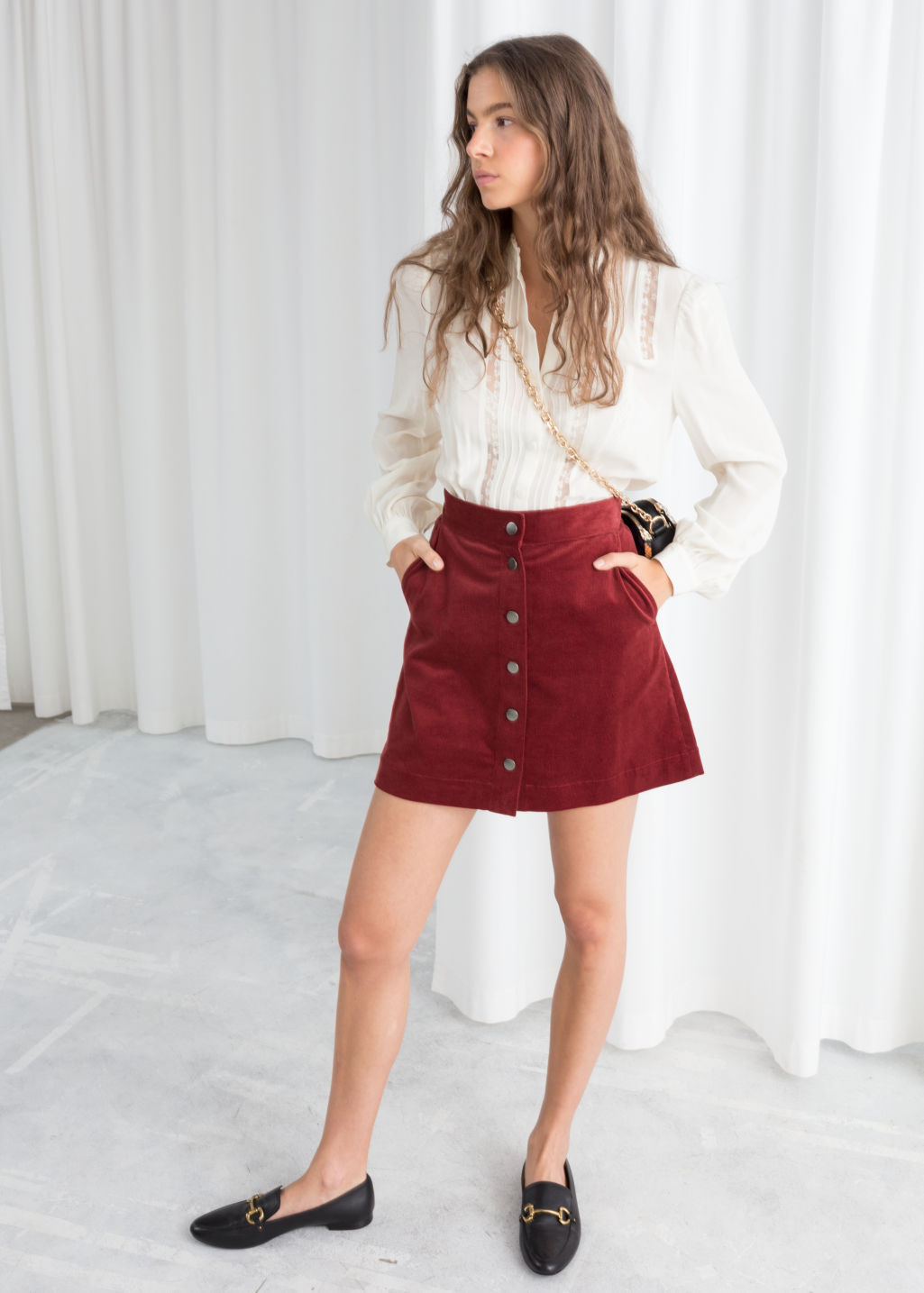 Model front image of Stories corduroy mini skirt in red
