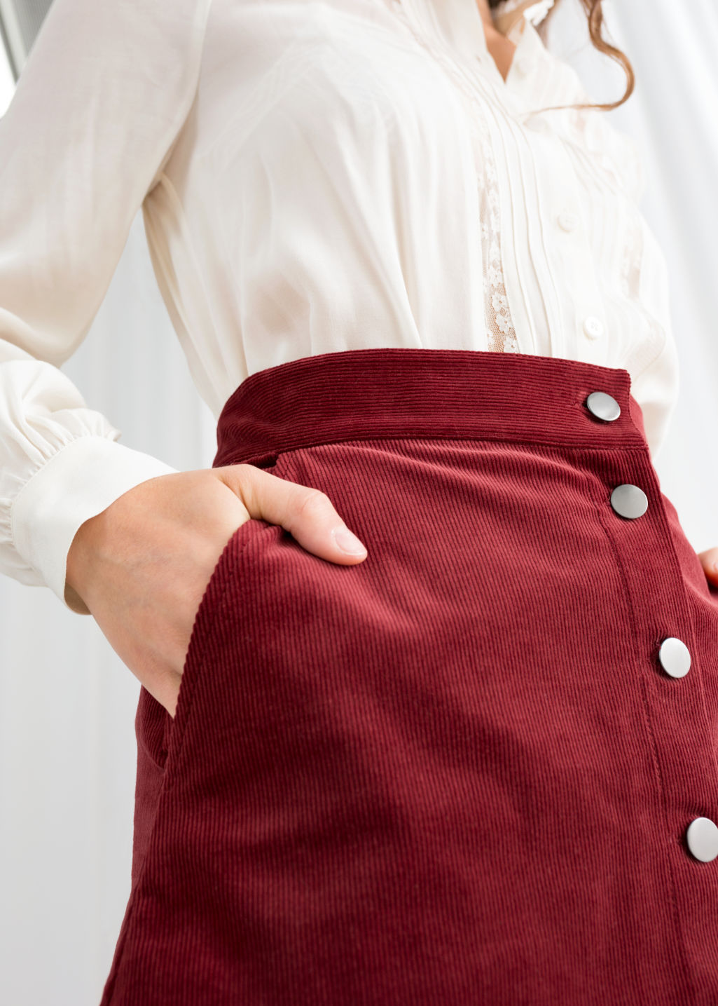 Model back image of Stories corduroy mini skirt in red