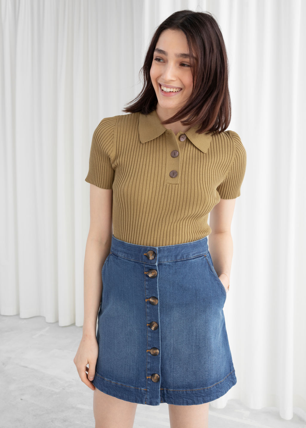 Model front image of Stories corduroy mini skirt in blue