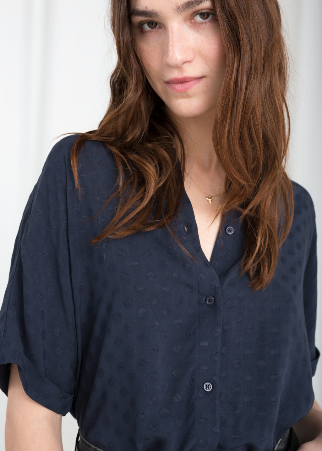 Model back image of Stories oversized button down shirt in blue