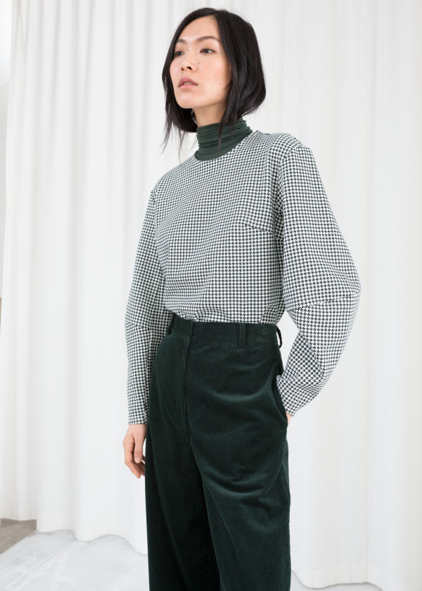 Cotton Blend Houndstooth Top