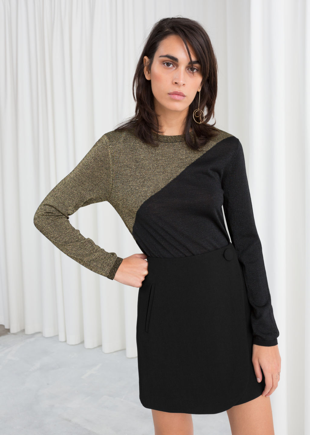 Model front image of Stories wool blend glitter sweater in black
