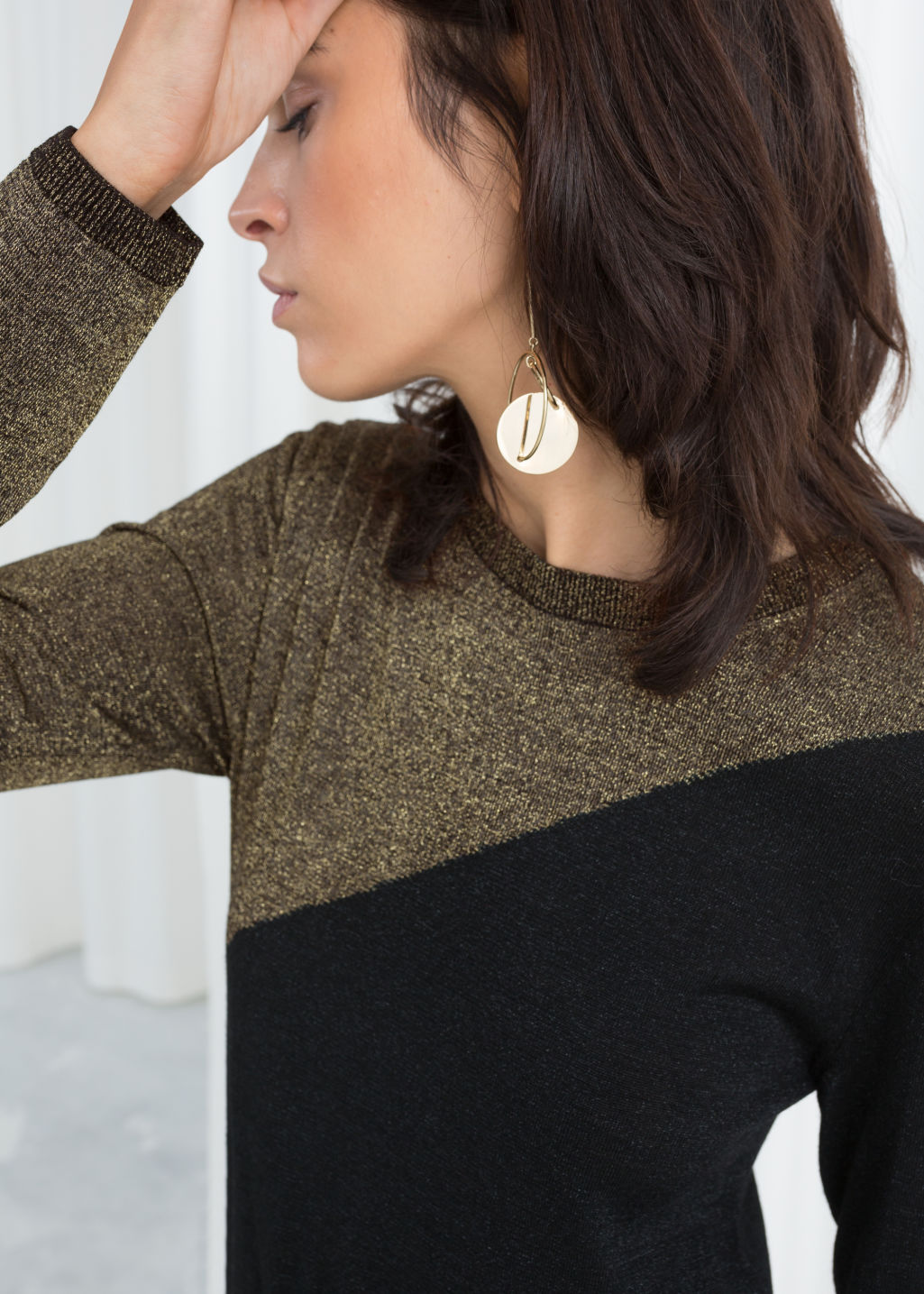 Model back image of Stories wool blend glitter sweater in black