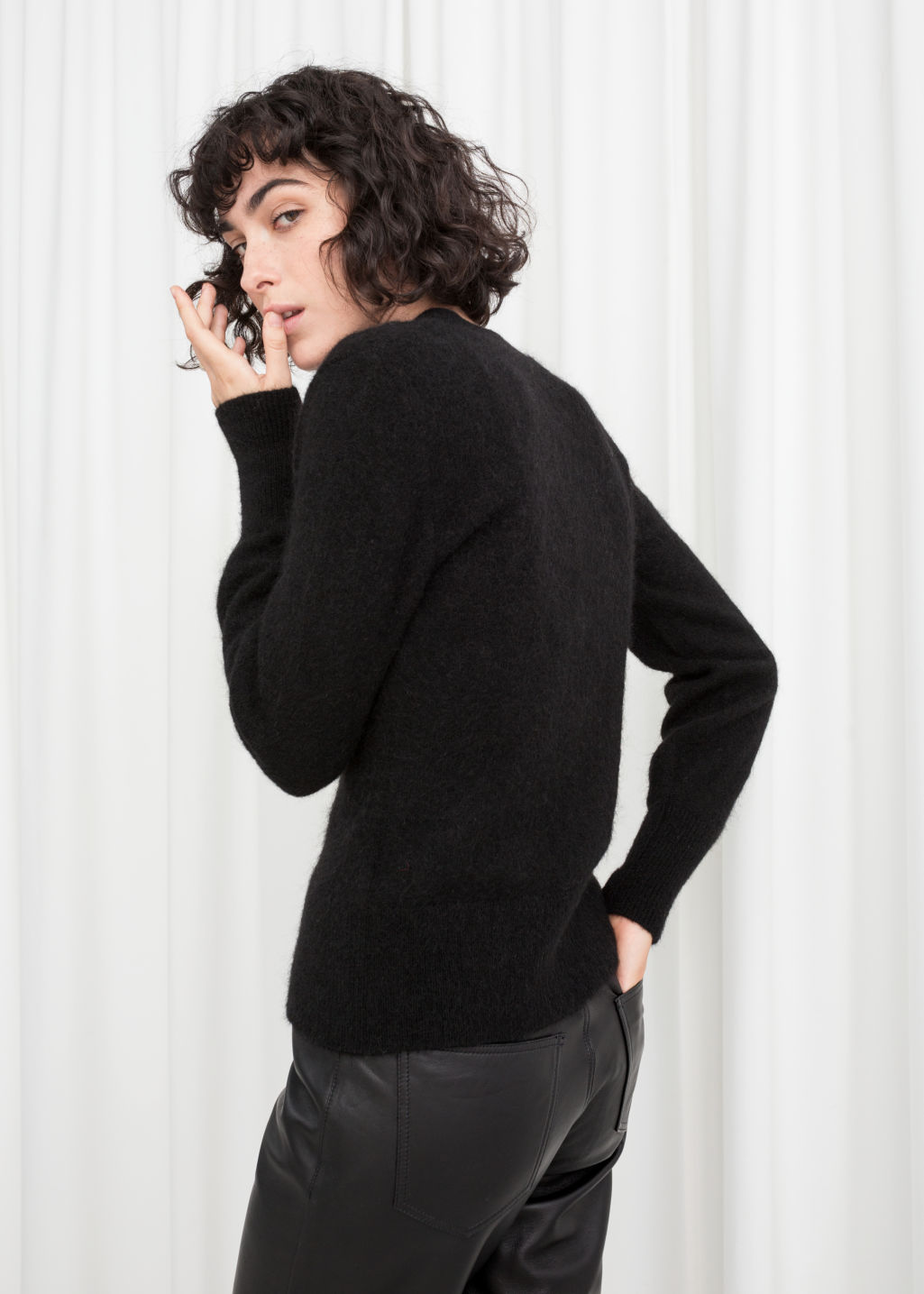 Model back image of Stories wool blend cardigan in black