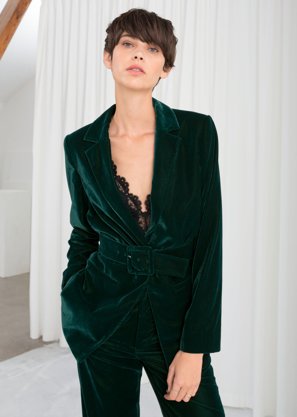 Model front image of Stories velvet belted blazer in turquoise