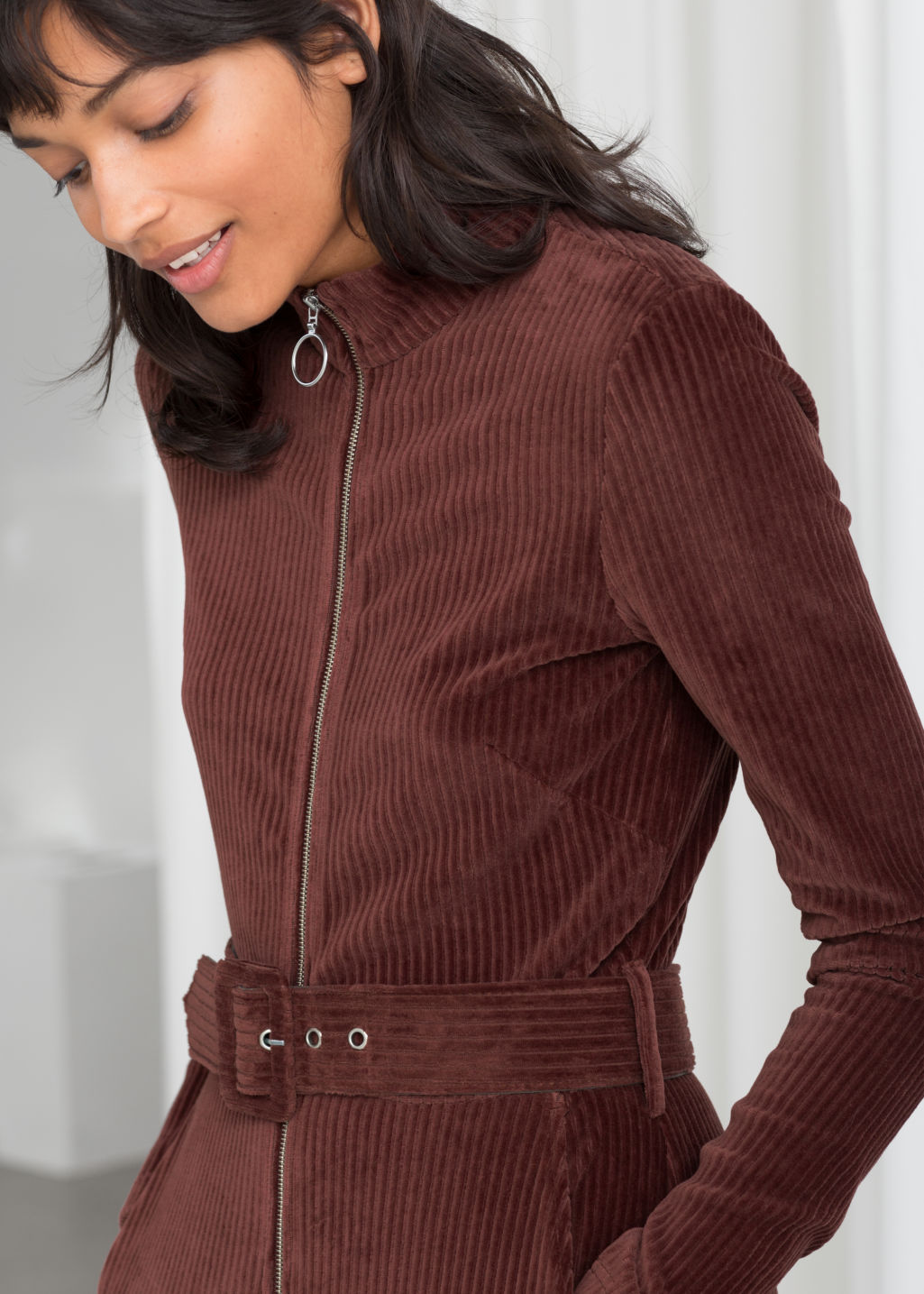 Model front image of Stories belted corduroy jumpsuit in brown