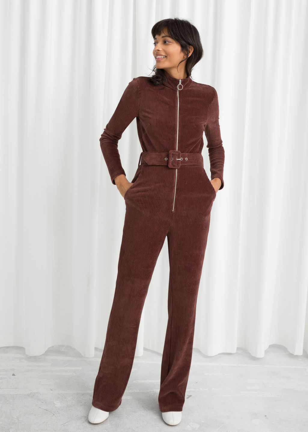 Model back image of Stories belted corduroy jumpsuit in brown