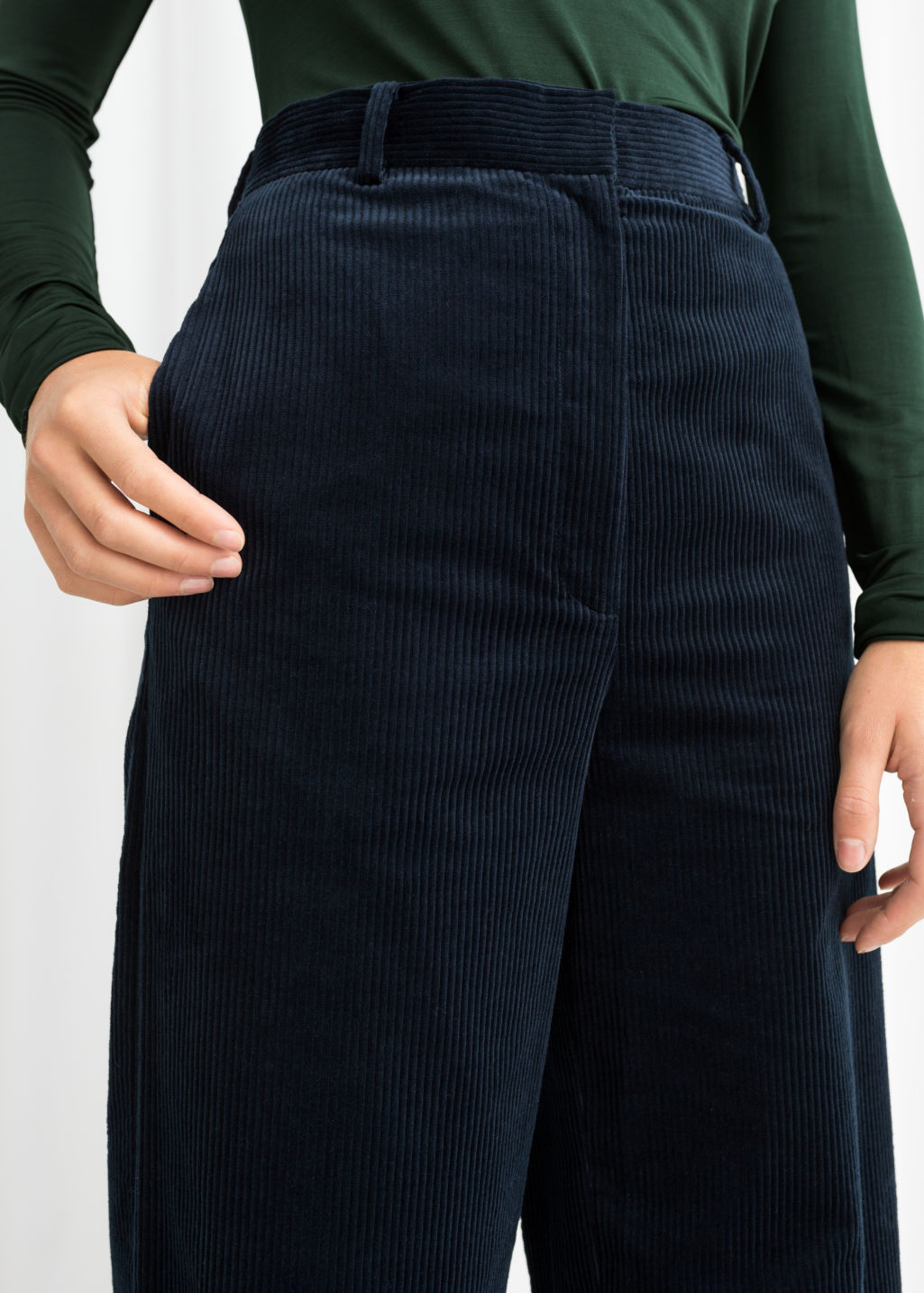 Model back image of Stories high waist wide corduroy trousers in blue