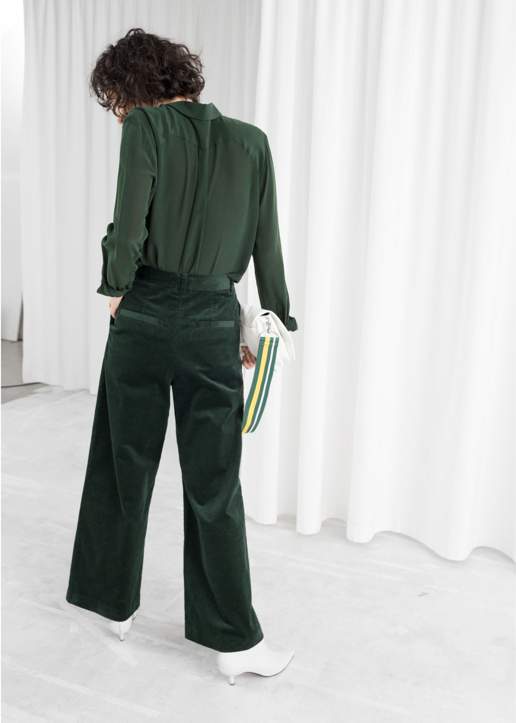 Model front image of Stories high waist wide corduroy trousers in green