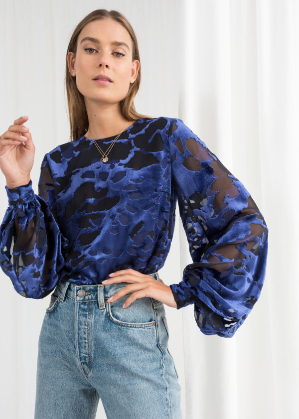 Sheer Burnout Velvet Blouse