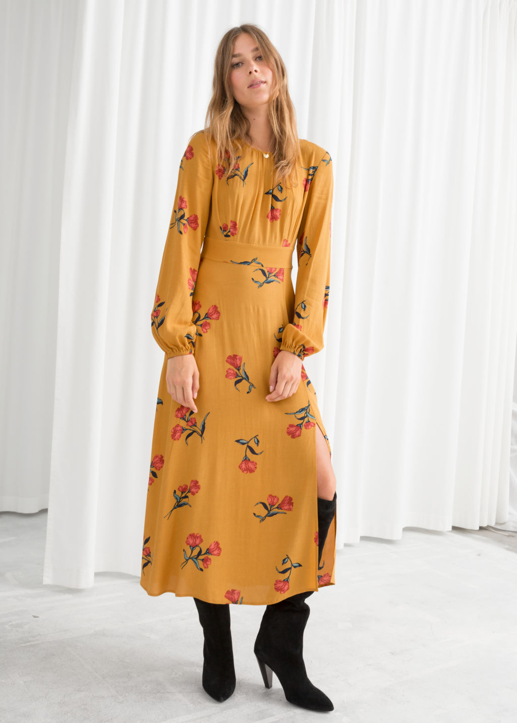 21017c3cbf4 Floral Long Sleeve Midi Dress - Yellow Floral - Midi dresses -   Other ...