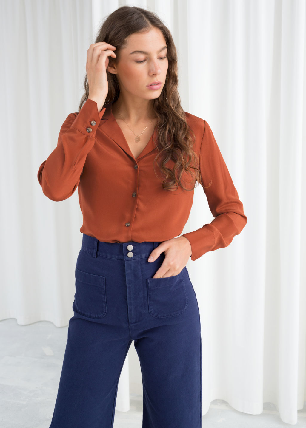 c297c094055b1 V-Cut Silk Button Up Blouse - Rust - Shirts -   Other Stories