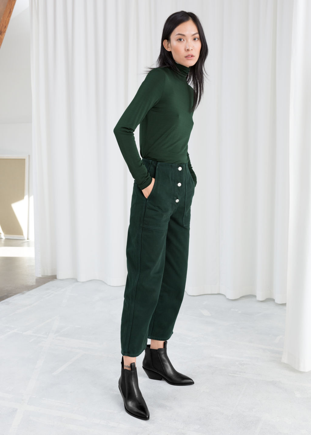 Model front image of Stories straight fit workwear trousers in green