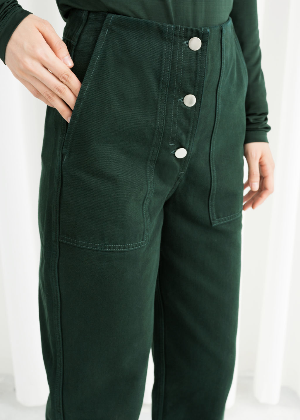 Model back image of Stories straight fit workwear trousers in green