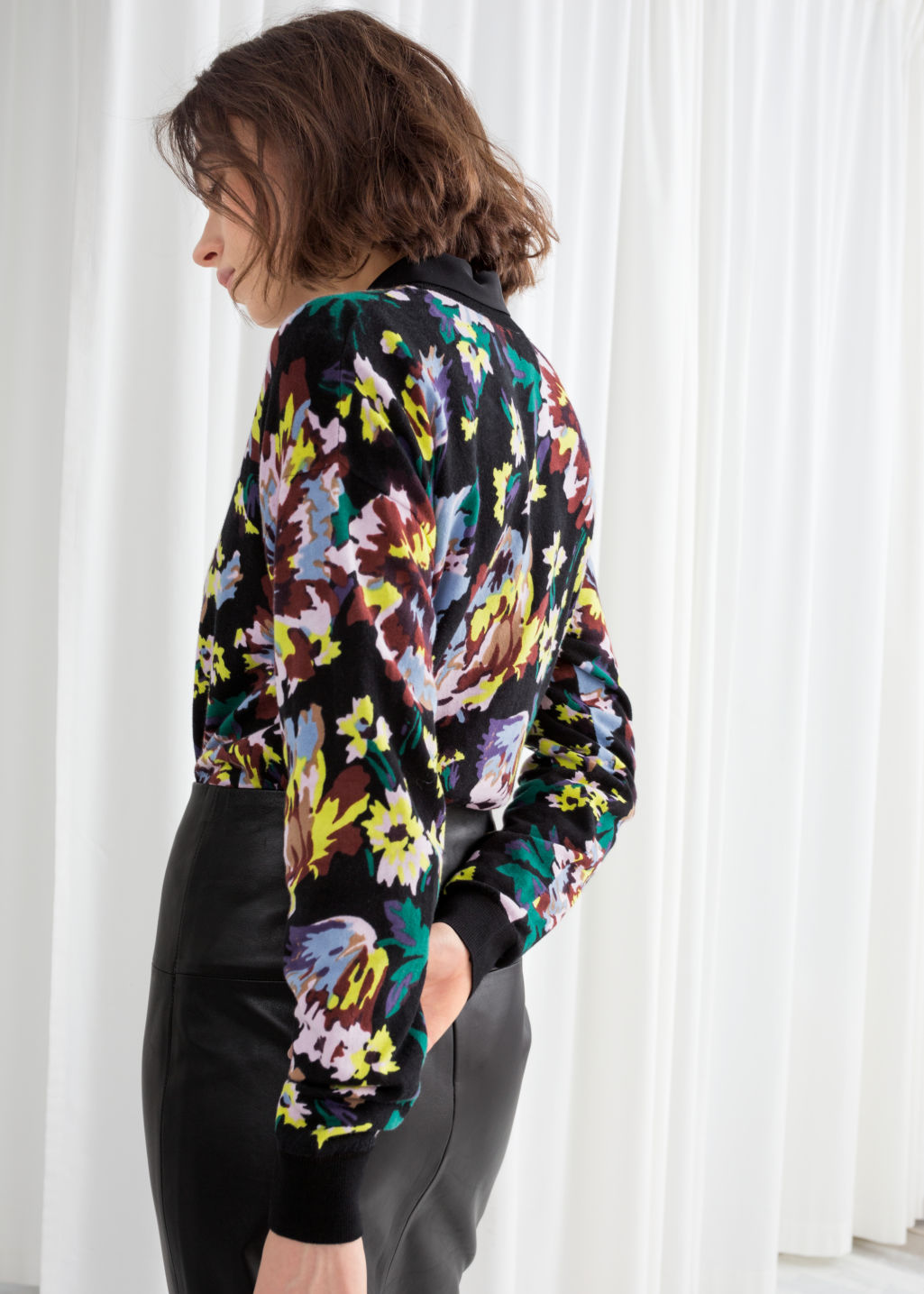 Model back image of Stories floral cotton knit sweater in black