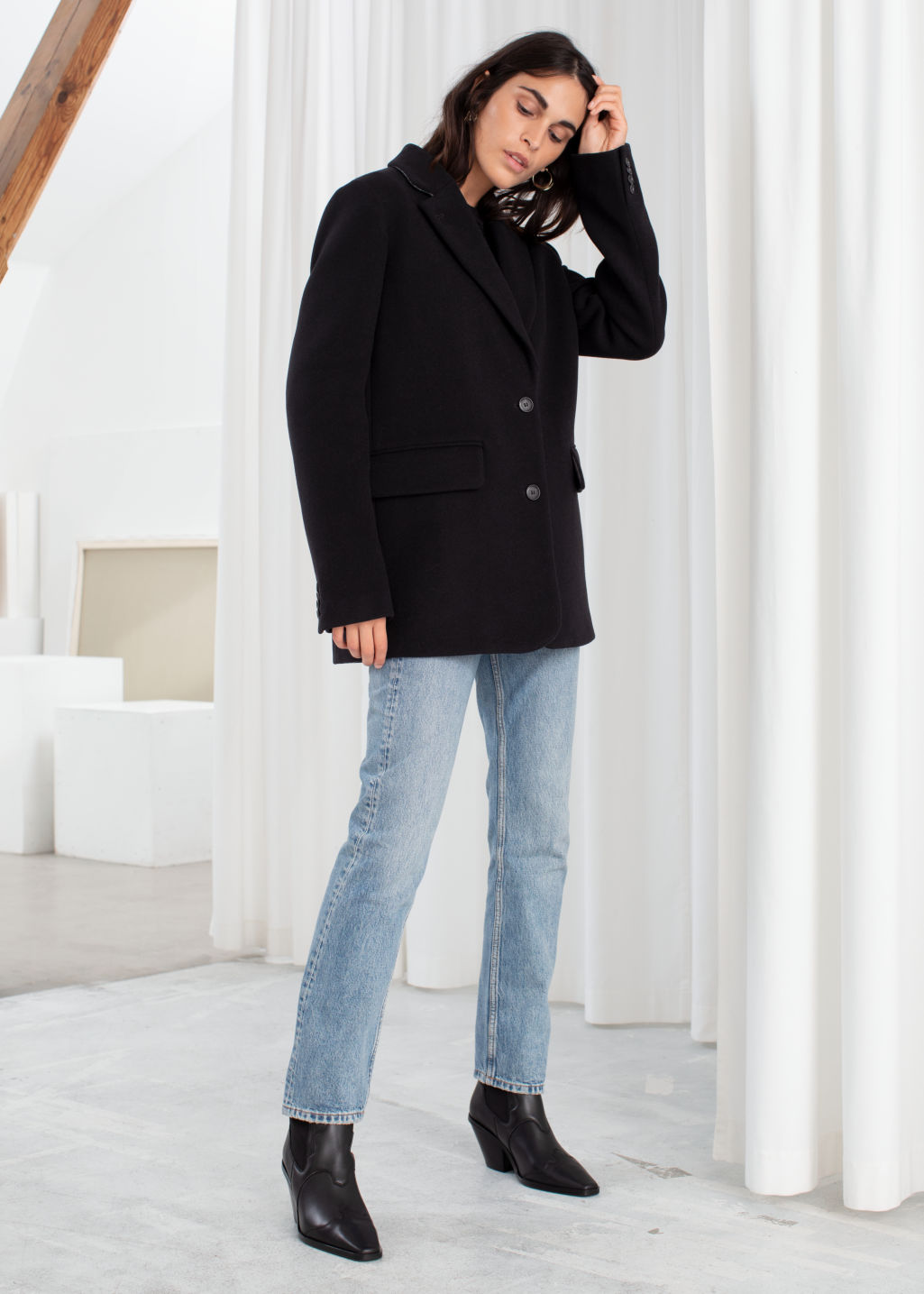Model front image of Stories wool blend oversized blazer in black