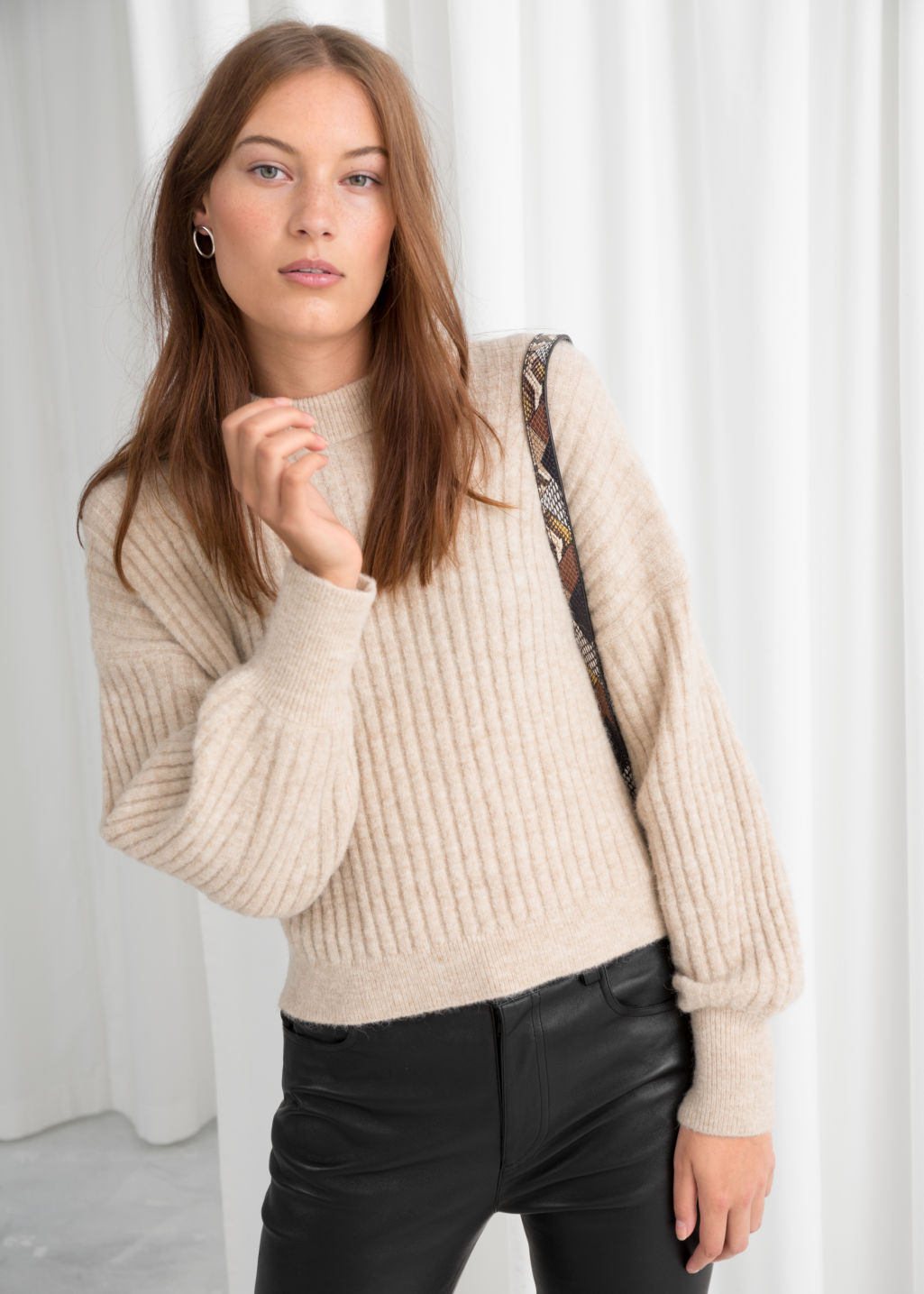 Model front image of Stories alpaca blend knit sweater in beige