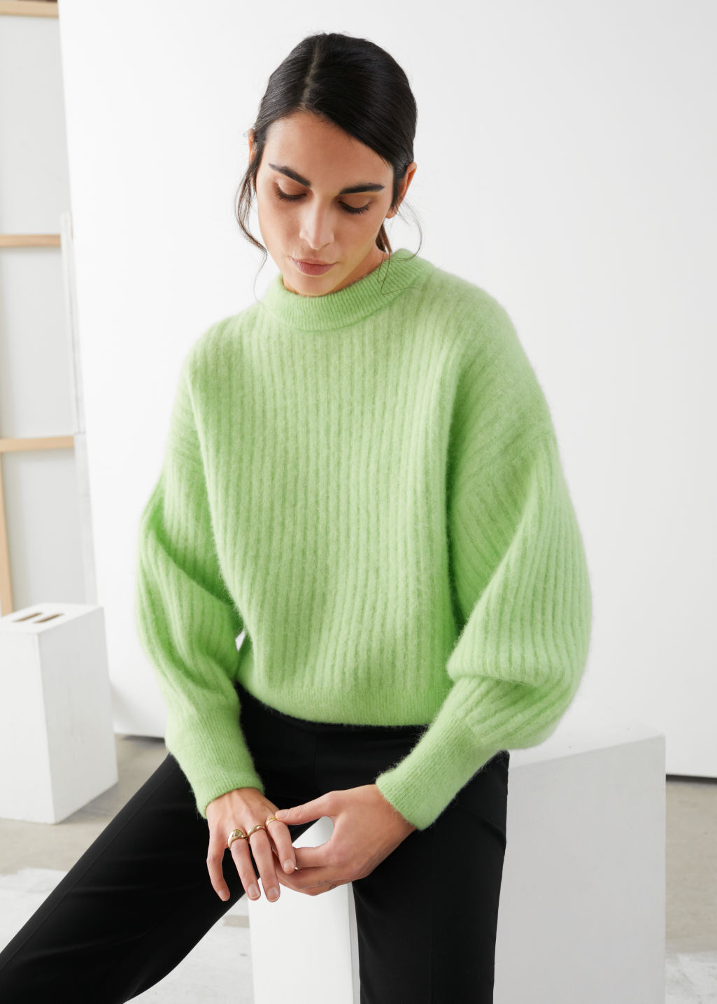 Model front image of Stories alpaca blend knit sweater in green