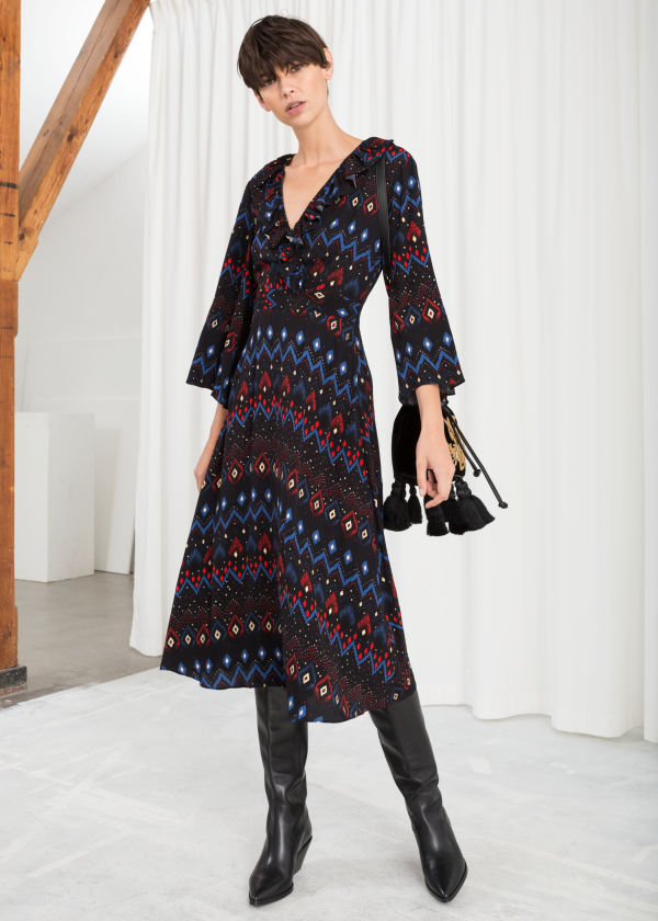 Plunging Printed Midi Dress