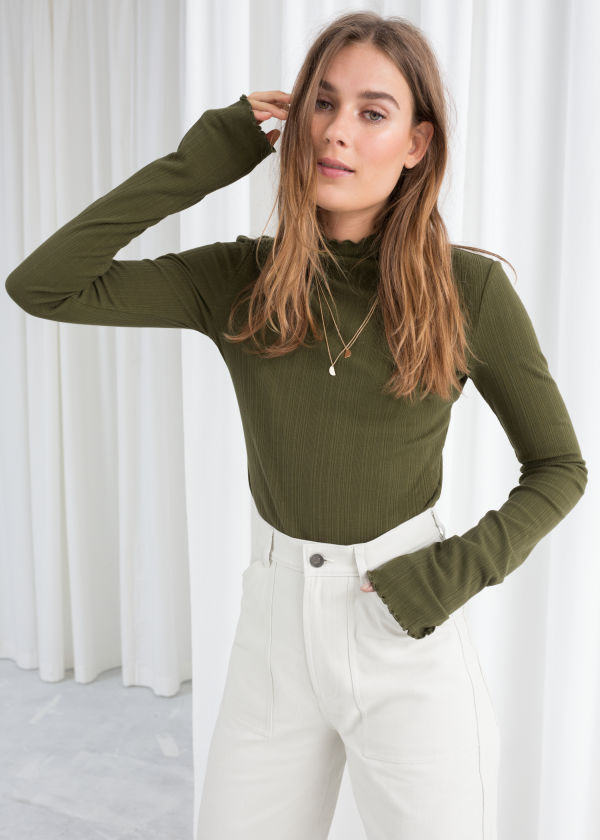 Stretch Cotton Mock Neck Top