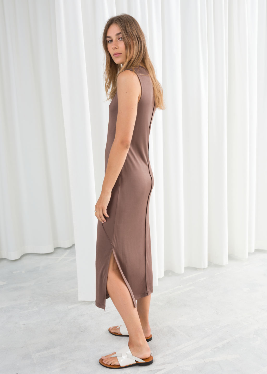 Model back image of Stories angled seam midi dress in beige