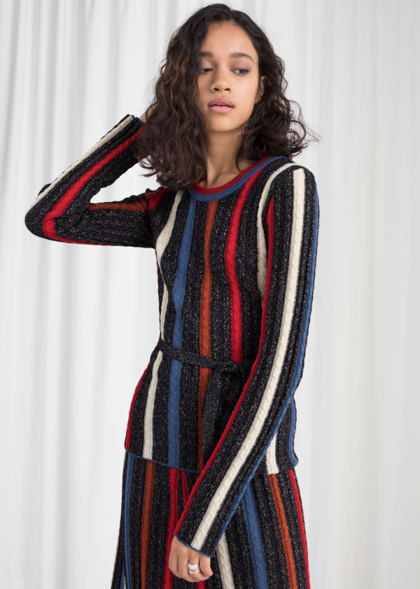 Belted Glitter Stripe Sweater