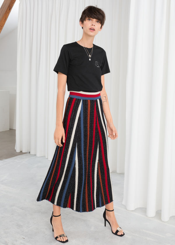 Glitter Stripe Midi Skirt