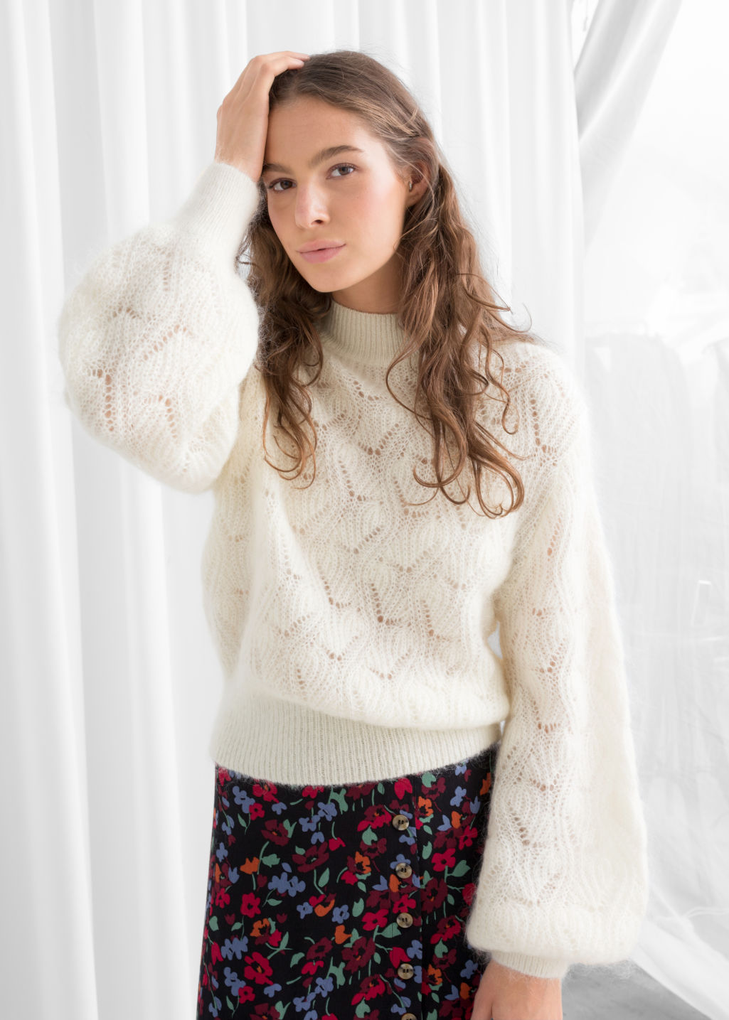 Model front image of Stories eyelet knit wool blend sweater in white