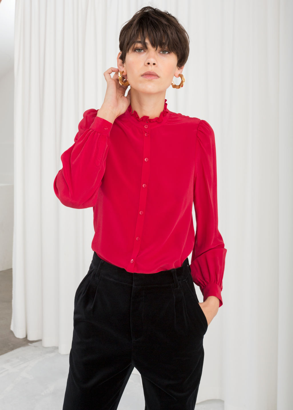 Model front image of Stories ruffle collar silk shirt in red